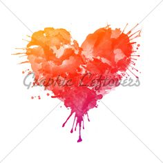 Watercolor heart tattoo - love the colors