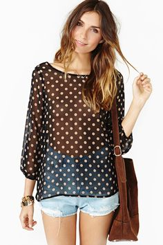 #Soft #Dot #Blouse #fashion #look
