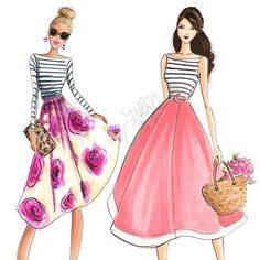 Striped spring sisters! Goodnight lovelies! #fashionillustration #etsy #bloom…