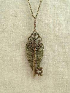 Victorian Skeleton Key with Angel Wings by GypsyWhims on Etsy, $22.00