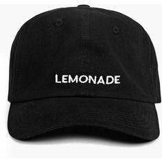 LEMONADE Slogan Baseball Cap ($10) ❤ liked on Polyvore featuring accessories…