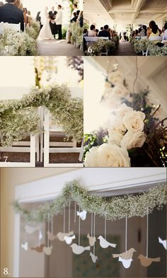 baby's breath - I like the garland with cut-out birds