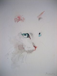 white cat art, watercolor by Analest Watercolor Cat, Watercolor Animals, Simple Watercolor Paintings, Watercolour Drawings, Cat Drawing, Painting & Drawing, Illustration Art, Illustrations, Chiaroscuro