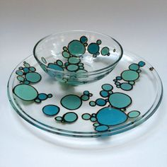 Handpainted glass plate and bowl by smittengirls on Etsy, $30.00