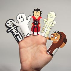 HALLOWEEN MONSTERS Paper Finger Puppets  Printable Pdf  by pukaca