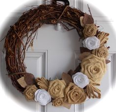 Grab some burlap from a craft store and a grapevine wreath from Wal-Mart. Description from pinterest.com. I searched for this on bing.com/images