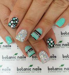 Sea green and black themed spring nail art design. Make sure your nails truly stand out with this quirky design of stripes and polka dots. Bring more attitude to your nails with silver glitter polish. by trudy Nail Design Spring, Spring Nail Art, Spring Nails, Spring Art, Fancy Nails, Trendy Nails, Diy Nails, Green Nail Art, Green Nails