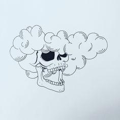 Head in the Clouds Trippy Drawings, Cool Art Drawings, Doodle Drawings, Art Drawings Sketches, Easy Drawings, Tattoo Drawings, Tattoo Art, Cloud Drawing, Cloud Art