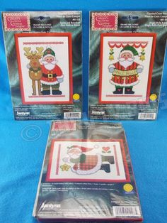 Janlynn Santa Reindeer Star Bells 3 Pc Cross Stitch & Frame 41-112 41-109 41-107 #Janlynn #Frame