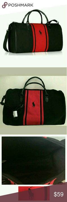 """🆕Polo Classic Duffle Bag Brand new authentic logo embroidered bag with zip top closure, two hand straps, and detachable/adjustable body strap. Material: cotton/polyester/faux leather. Approximate measurements: 19""""l x 11""""h x 8""""w. Gift with purchase. Super cute! Polo by Ralph Lauren Bags Travel Bags"""