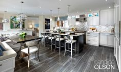 Candice Olson decorating and design ideas for kitchens, bathrooms, bedrooms, dining rooms and living rooms, from paint colors to furniture. Old Kitchen, Kitchen Dining, Kitchen Ideas, Kitchen Banquette, Dining Room, Home Renovation Loan, Chrome Bar Stools, Grey Floor Tiles, Home Improvement Loans