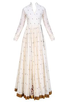 natasha j mughal white angrakha style floor length anarkali kurta in cotton mul base with printed parrot motifs all over and knotted tie up detailing with tassel hangings on the side Dress Indian Style, Indian Fashion Dresses, Indian Designer Outfits, Indian Outfits, Designer Clothing, Designer Anarkali Dresses, Kurta Designs, Dress Designs, Lehenga Designs