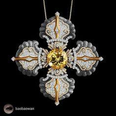 A sensational #diamond and #gold Tibetan crossfrom @baobaowan
