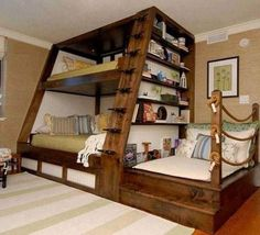 """DIY Triple Bunk Bed Ideas # """"Bunk Bed Designs""""DIY Triple Bunk Bed Ideas # """"Bunk Bed wonderful ideas for a bunk bed for your children's roomSave space and stay trendy with Triple Bunk Beds Full Size Bunk Beds, Bunk Beds Small Room, Triple Bunk Beds, Loft Bunk Beds, Bunk Bed With Desk, Bunk Bed Plans, Modern Bunk Beds, Bunk Beds With Stairs, Kids Bunk Beds"""