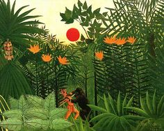 Tropical Landscape, American Indian Struggling with a Gorilla, 1910 by Henri Rousseau  (Virginia Museum of Fine Arts, Richmond VA)