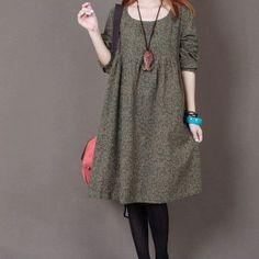 Gelbe Blumendruck Baumwolle Kleid Langarm von originalstyleshop, $59.90