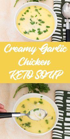 Chicken Broth Soup, Bone Broth Soup, Low Carb Chicken Soup, Chicken Bites, Chicken Soup Recipes, Chicken Curry, Butter Chicken, Creamy Garlic Chicken, Garlic Soup