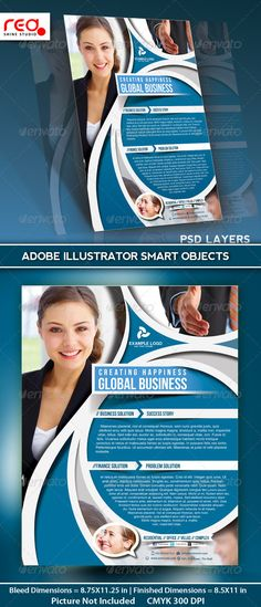 Business Flyer Poster Magazine Template  #GraphicRiver        SPECIFICATION  Flyer / Poster Template is 8.5 by 11 in (8.75 in by 11.25 in with bleeds) and is ready for print, because it's in CMYK at 300 dpi. The psd file can be edited in Photoshop, and to be simple able to change the text.   1 Layered Photoshop file in zip folders with editable text and Simple to Customize. replace colours, text, add images & your logos, etc.   Help file included   NOTE : The photos used in the preview…
