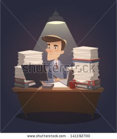 Hard working night in office. Retro style vector illustration by Doremi, via Shutterstock