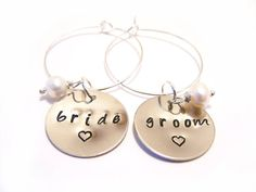 Custom Bride and Groom Hand Stamped Freshwater Pearl Wine Charms by CYDesignStudio