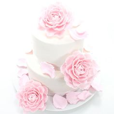 Peony Wedding Cake Topper in Romantic Pale Pink Gumpaste- Set of 3 with 20 FREE loose petals