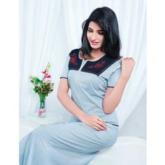 Juliet Regular Hosiery cotton Full Length Nighty (JLFN11398) Night Suit, Hosiery, Short Sleeve Dresses, Lingerie, Suits, Clothes For Women, Cotton, How To Wear, Stuff To Buy