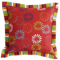 Fiesta! It's easy to liven things up with our festive and bright (and super-soft) pillow. Vibrant colors and kinetic shapes practically beg you to salsa your way across the room or patio.