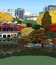 Japanese Architecture Illustration l Japanese Architecture, Anna, Around The Worlds, Artist, Travel, Inspiration, Image, Illustrations, Biblical Inspiration