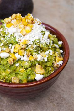 Guacamole, corn and feta cheese
