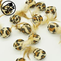 10Pcs/lot  leopard design Pet Cat Toys Mini Playing Toys with  Feather Pet Cat Feather Mouse Toys //Price: $4.00      #shopping