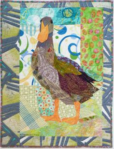 Textile art - Ruth McDowell quilt_Duck at the Crossroads Quilting Projects, Quilting Designs, Chicken Quilt, Landscape Art Quilts, Farm Quilt, Animal Quilts, Sewing Art, Applique Quilts, Wool Applique