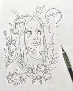 Fantasy Drawings, Cool Art Drawings, Pencil Art Drawings, Hippie Painting, Girl Drawing Sketches, Hippie Art, Aesthetic Art, Art Sketchbook, Cartoon Art