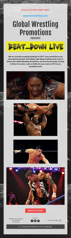 Live in a city near you!    gwprowrestling.com    Global Wrestling Promotions  PRESENTS
