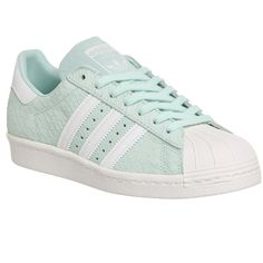 Adidas Superstar 80's (w) (€77) ❤ liked on Polyvore featuring shoes, sneakers, frost green white, hers trainers, trainers, rubber shoes, striped sneakers, 80s shoes, adidas and 80s sneakers
