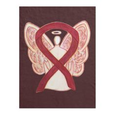 Burgundy Awareness Ribbon Angel Baby Blankets