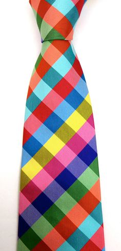 Summer Necktie - Multicolor Gingham Silk Tie for Men - The Livin Is Easy. £75.00, via Etsy.