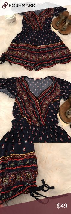 Band of Gypsies Romper Band of Gypsies Romper.  Super cute shorts romper, adorable side cinched ties.  Brand new with tags. Band of Gypsies Other