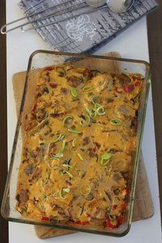 Kremmet kyllingform med karri go mangochutney Bbq, Recipe Boards, Lasagna, Nom Nom, Food And Drink, Turkey, Pasta, Chicken, Ethnic Recipes