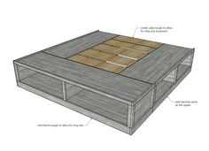 queen bed frame diy storage Classic Storage Bed (K - diystroage Diy Bedframe With Storage, Platform Bed With Storage, Diy Platform Bed, Bed Frame With Storage, Storage Beds, Diy King Bed Frame, King Size Bed Frame, Ana White, White King