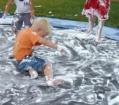 """Inspiring Ideas with artist Jeanne Winters: """"Messy Boy Party"""" Part 2: Let the GAMES begin!!! Lots of fun, kind of gross, definitely messy kid party games and activities. Perfect for outdoors. Spring, summer, warm weather, summer vacation, school's out! More activities for kids & child friendly party favors at http://pinterest.com/wineinajug/kid-party-activities/"""