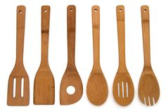 Bamboo 6 Piece Cooking Utensil Set Kitchen Wooden Spoon Spatula Mixing Kitchen