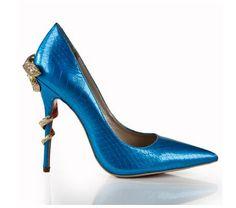 Mujeres atractivas de charol moda diamante del oro de la serpiente de tacón de gran tamaño del dedo del pie puntiagudo serpiente mental de acero bombas del alto talón