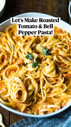 Vegetarian Pasta Recipes, Yummy Pasta Recipes, Veggie Recipes, Cooking Recipes, Healthy Recipes, Pepper Pasta Recipe, Roasted Red Pepper Pasta, Roasted Tomatoes, Pepper Recipes