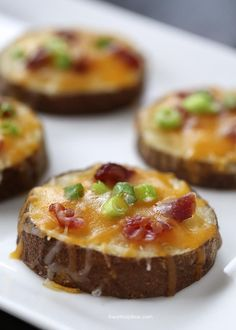 Easy potato skins recipe via iheartnaptime.net. These potato rounds are topped with cheddar cheese, crumbled bacon bits and taste great topp...