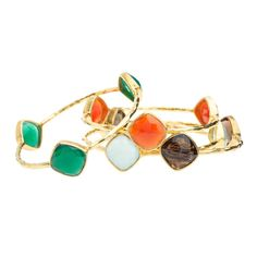 Gemstone Bangle!  Textured gold bangle bracelet with 3 cushion cut semi-precious stones.  6 colors to choose from.  Stack differnt colors, and be the envy of everyone!