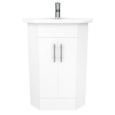 Shop the Alaska High Gloss White Corner Cabinet Vanity Unit. Includes Ceramic Basin. 1 internal shelf. Now available online at Victorian Plumbing.co.uk.
