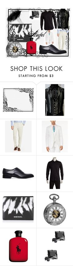 """Angel Victorian Outfit1"" by missnerd-liz ❤ liked on Polyvore featuring Bonobos, Bar III, Salvatore Ferragamo, Versace, Diesel, Akribos XXIV, Ralph Lauren, Monsieur, men's fashion and menswear"