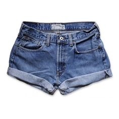 Vintage 90s Abercrombie & Fitch Medium Faded Blue Wash Mid-High... (€18) ❤ liked on Polyvore featuring shorts, bottoms, pants, denim shorts, high rise shorts, high rise jean shorts, cuffed jean shorts, cut off shorts and high-waisted cut-off shorts