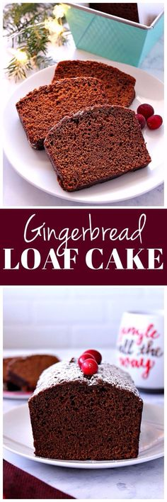 Gingerbread Loaf Cake Recipe - moist and perfectly spiced Christmas cake for gingerbread lovers. This coffee shop style cake is absolutely delicious!