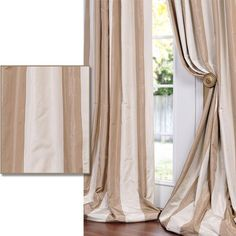 Light Brown/ Tan Striped Faux Silk Taffeta Curtain Panel - Overstock™ Shopping - Great Deals on EFF Curtains 97